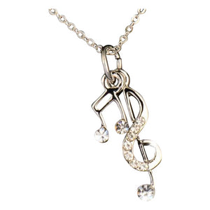Pendant Necklace!Musical Note Silver & Cubic Zirconia Necklace~Scantily33x - Scantily33x