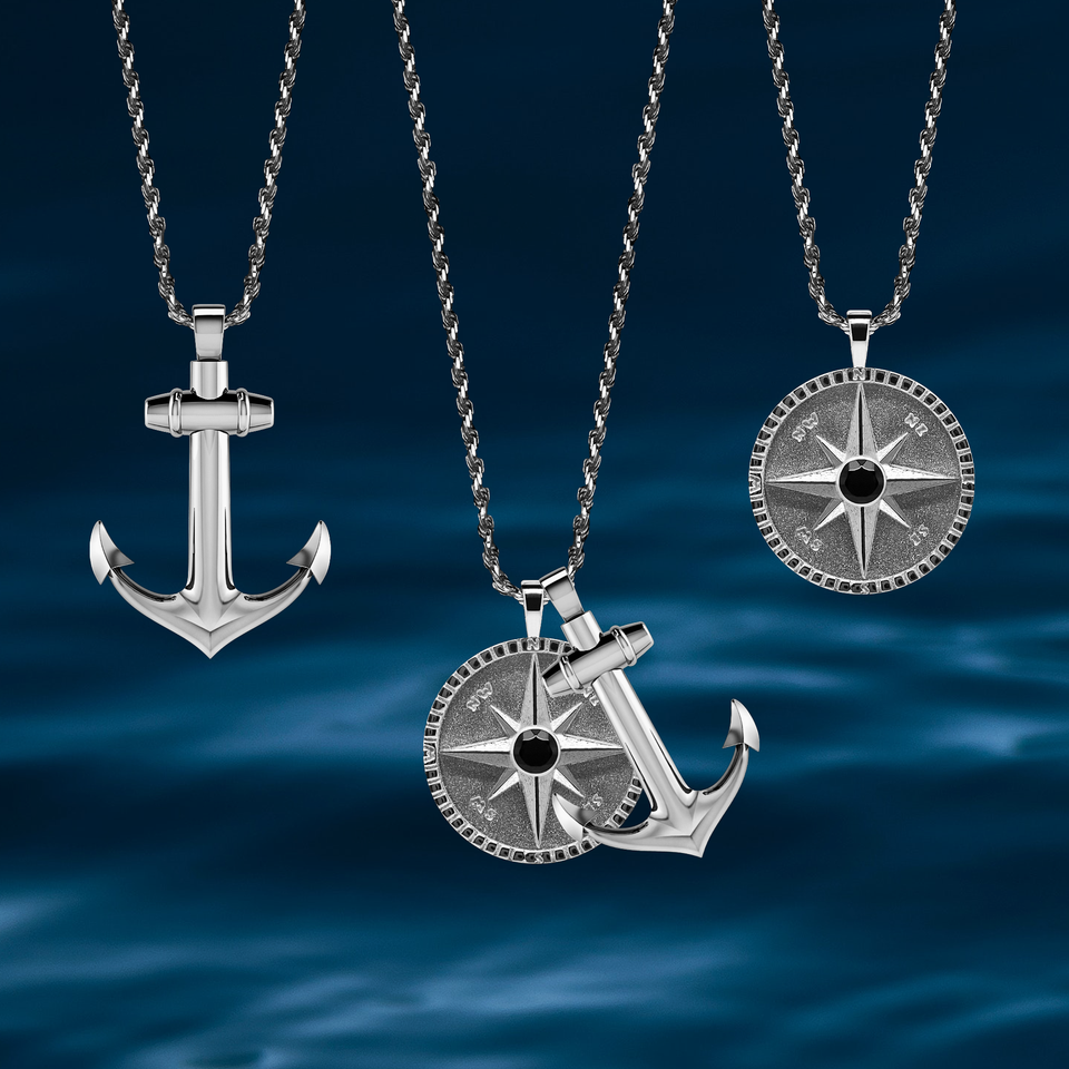 Rahul Patel Collection Necklace Pendant Compass Anchor Rope Jewellery For Men and Women Made in London Ocean