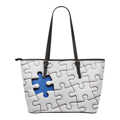 $25 OFF - Autism Puzzle - Premium Leather Tote Bags - Double-Sided Print
