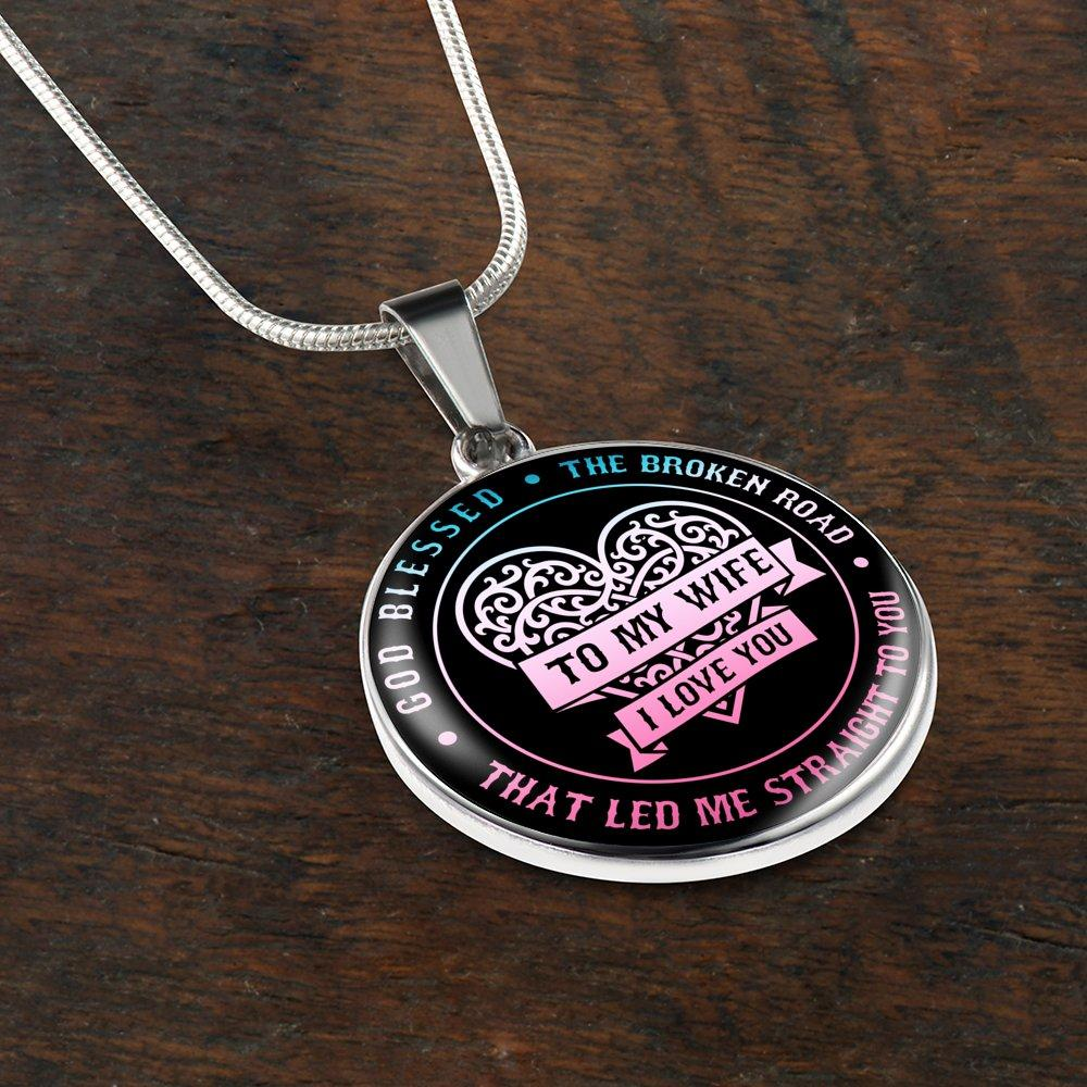 GOD BLESSED THE BROKEN ROAD ROSE BLUE PENDANT WITH SNAKE CHAIN