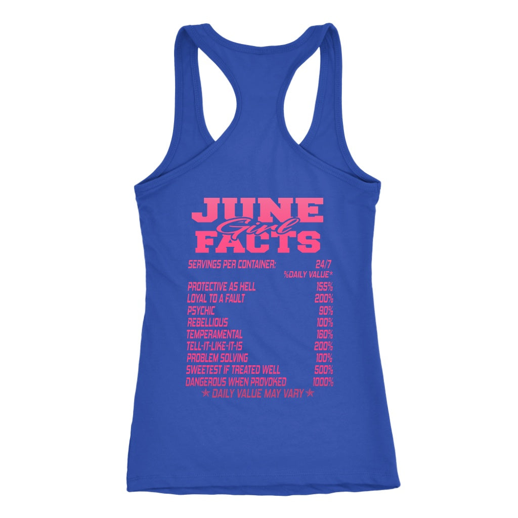June Born Girl Facts Printed On Back Shirt Hoodie Tank