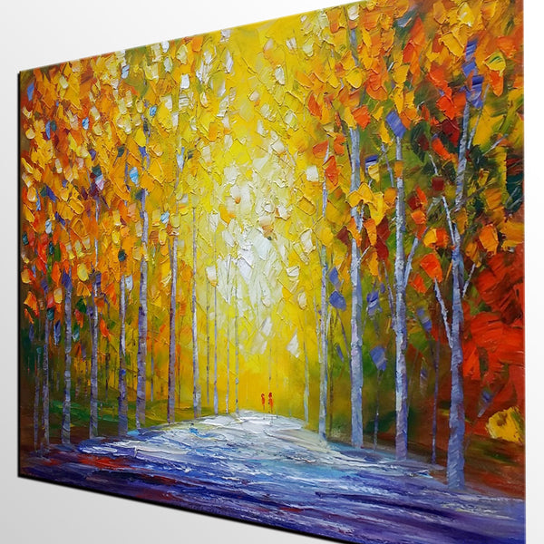 Oil Painting, Abstract Modern Art, Autumn Landscape Painting, Canvas ...