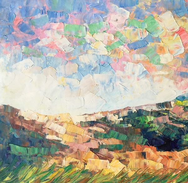 Mountain Abstract Art, Abstract Painting, Bedroom Wall Art