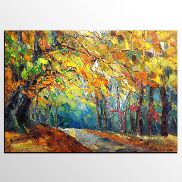 Abstract Art Painting, Autumn Leaves Painting, Landscape Art, Canvas ...
