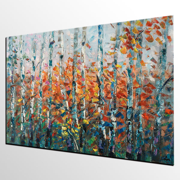 Exceptionnel ... Tree Landscape Art, Large Wall Art, Birch Tree Painting, Canvas  Painting For Bedroom ...