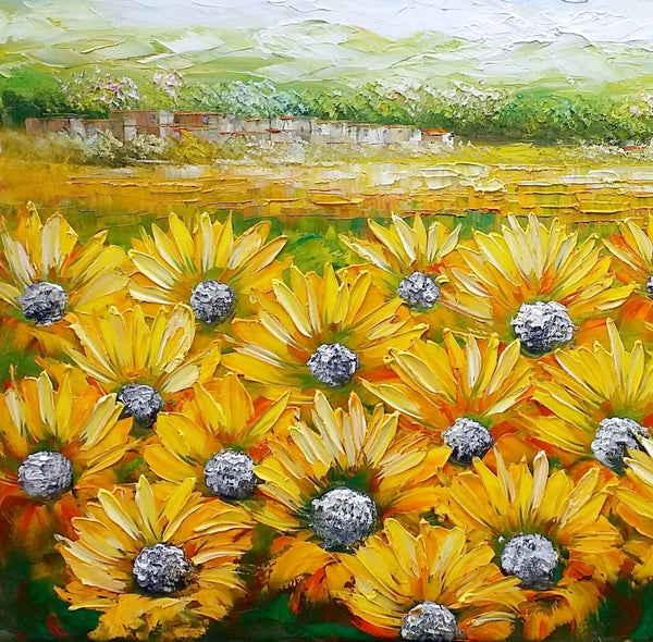 Sunflower Painting, Canvas Oil Painting, Heavy Texture Art, Bedroom ...