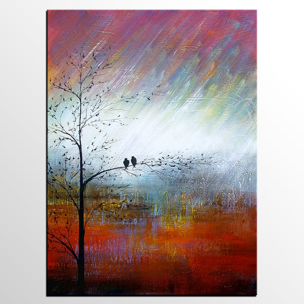 Wedding Gift Abstract Art Love Birds Painting Wall Painting