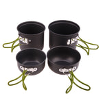 4-in-1 Camping Pot Sets Non-stick Pots Pans Bowls Anodised Aluminum Outdoor Hiking Picnic Cookware Set For 2-3 Persons