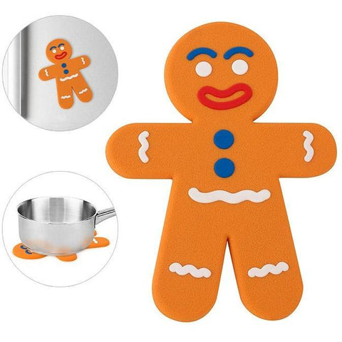 This funky and useful gingerbread man is a lovely trivet to save you worrying about causing heat damage to your worktops. Bold colours and an unmistakable shape, this fabulous gingerbread man will brighten up and kitchen.
