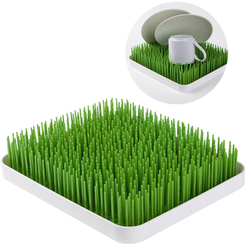 Forget your boring draining mat, this vibrant grass garden is an understated way to dry out your washing up. Long vibrant green grass makes water easily run off, and this is a practical way to bring a bit of the outdoors inside.