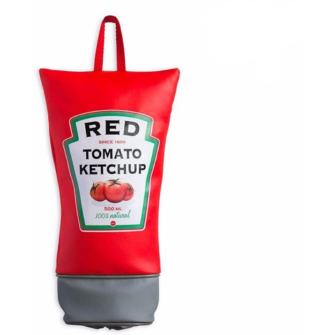 We all have that space at home where we keep our plastic bags...they're usually taking up valuable room in your kitchen drawer or some other inconvenient place. That's where this funky ketchup bag dispenser comes in handy - just hang it from the back of your kitchen door and at last you have somewhere to store your bags after your weekly shop!