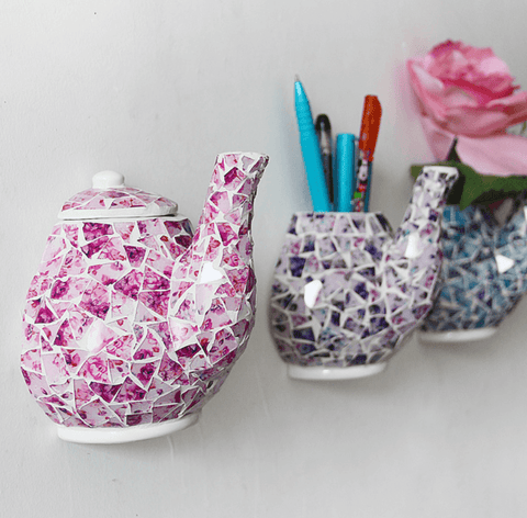 Crackled Tea Pot Wall/Hooks (Set Of Three)