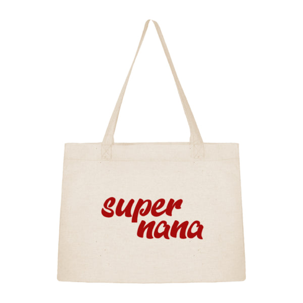 Tote bag sac shopping en coton bio Super nana