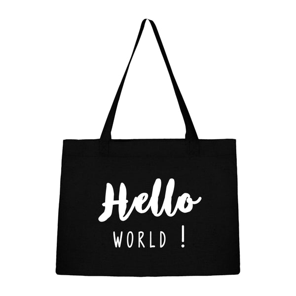 Sac noir en coton bio Hello World