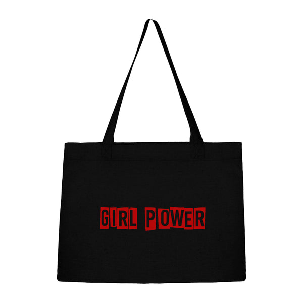 Sac noir en coton bio girl power