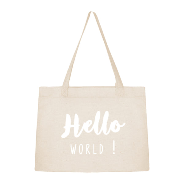 Sac shopping tote bag en coton Hello world