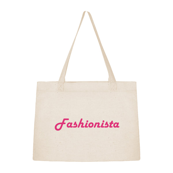 Grand sac shopping en toile de coton fashonista