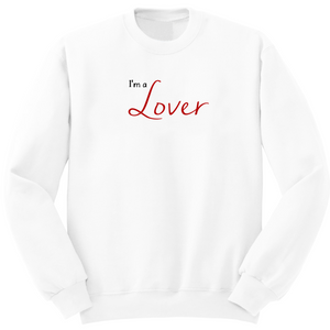 Pull blanc en coton bio avec inscription I'm a lover