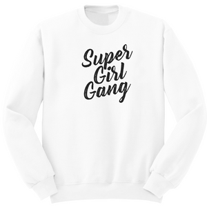 Pull blanc en coton bio avec inscription supergirlgang