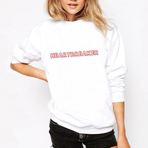 Pull blanc en coton bio avec inscription heartbreaker