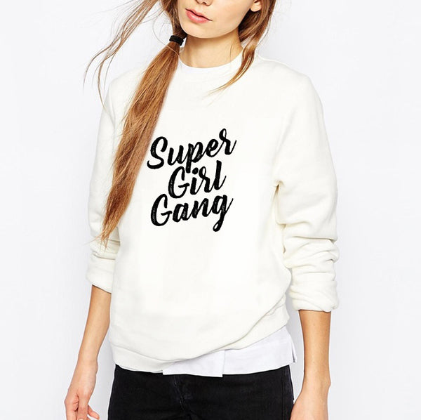 Sweat bio avec inscription supergirl gang