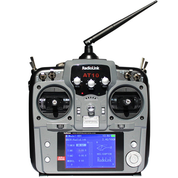 Radiolink AT10II (Mode 2) 12-Channel Transmitter Radio with R12DS Receiver - Gray