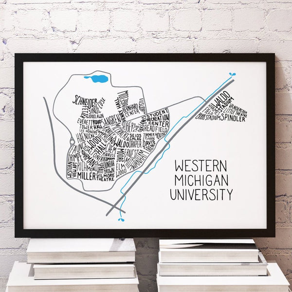 Western Michigan University WMU Main Campus Typography Map