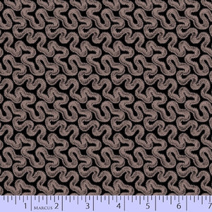 Purple Meandering on Black Fabric - 3/4 Yard Remnant - All About Quilting