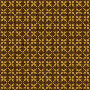 Gold Trumpet Flower on Brown - All About Quilting