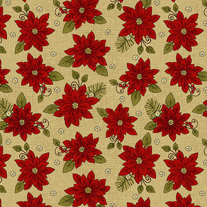 Winter Poinsetta Honey Fabric - All About Quilting