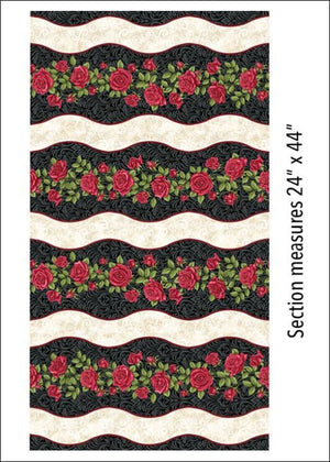 Festive Roses Stripe Black - 2-3/8 Yard Remnant - All About Quilting