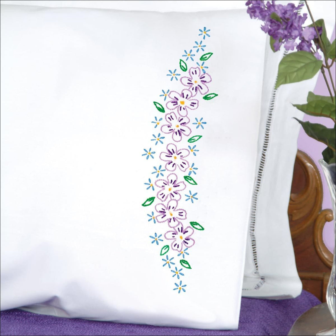 Lavender Flowers Perle Edge Pillowcases - All About Quilting