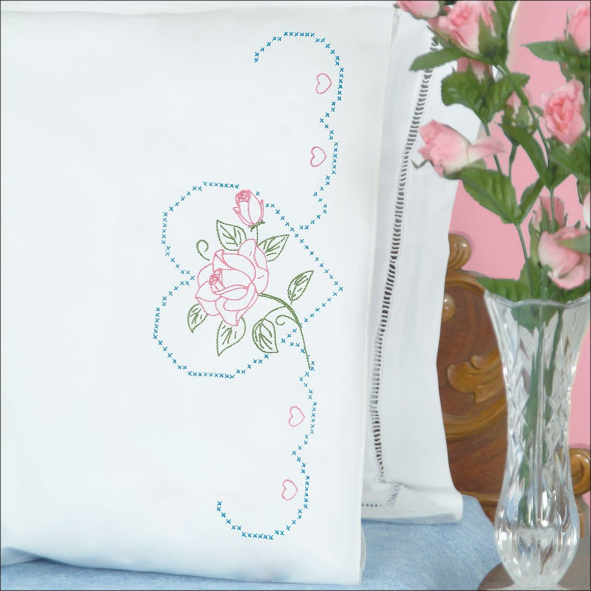 Rose and Heart Perle Edge Pillowcases - All About Quilting