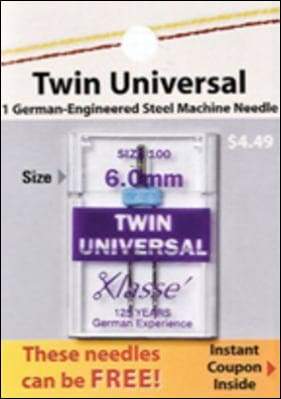Twin Universal Needle Size 100 - 6.0Mm Notion