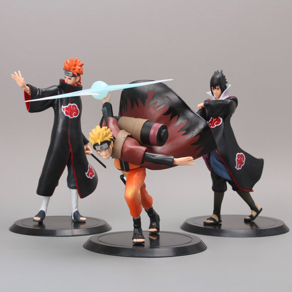 Naruto Uzumaki - Pain - Sasuke Uchiha PVC Action Figure Set (Set - 3pcs)