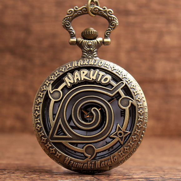 Bronze Naruto Uzumaki Hollow Quartz Pocket Watch