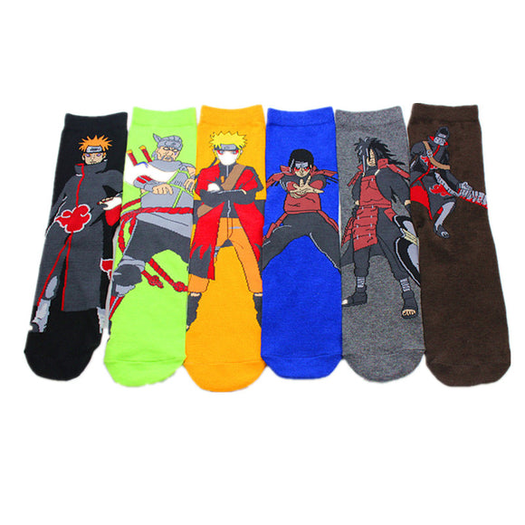6 pair/set Cute Naruto Socks One Size