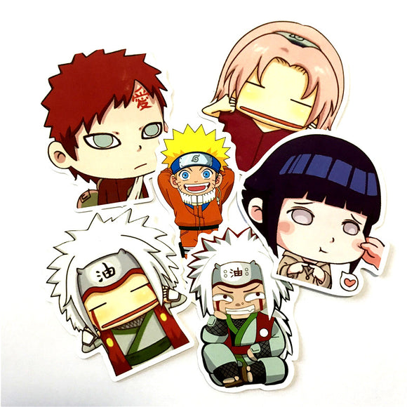 6pcs of Naruto PVC Stickers for Laptop/Backpack/Guitar