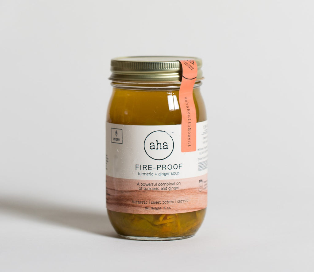 Photo of a jar of Fire-Proof soup from aha Pure Foods