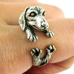 Vintage Silver-Plated Dachshund Wrap Ring 🐾
