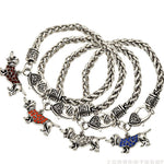 Luxury Crystal Color Dachshund Charm Bracelet 🐾
