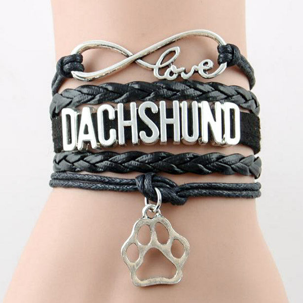 Charming Leather Dachshund Bracelets & Pendant Paw 🐾
