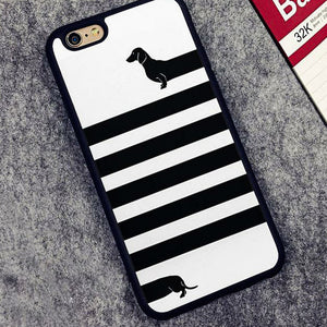 Black Looooong Dachshund Printed Cartoon Case for iPhone 🐾