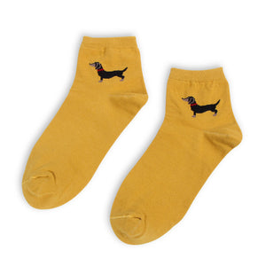 Casual Dachshund Unisex Cotton Socks - 5 Pairs / Colors 🐾