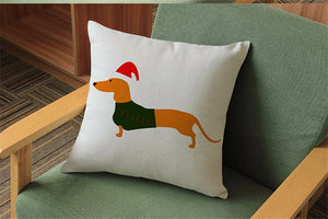 Christmas Festival Dachshund Cushion Pillow Cover 🐾