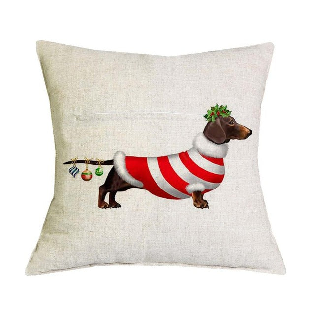 Christmas Dachshund Pillow Cover 🐾