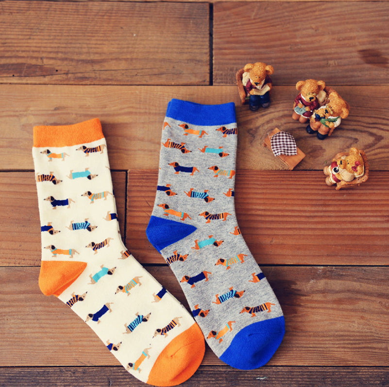 Soft Multicolor Dachshund Socks 🐾