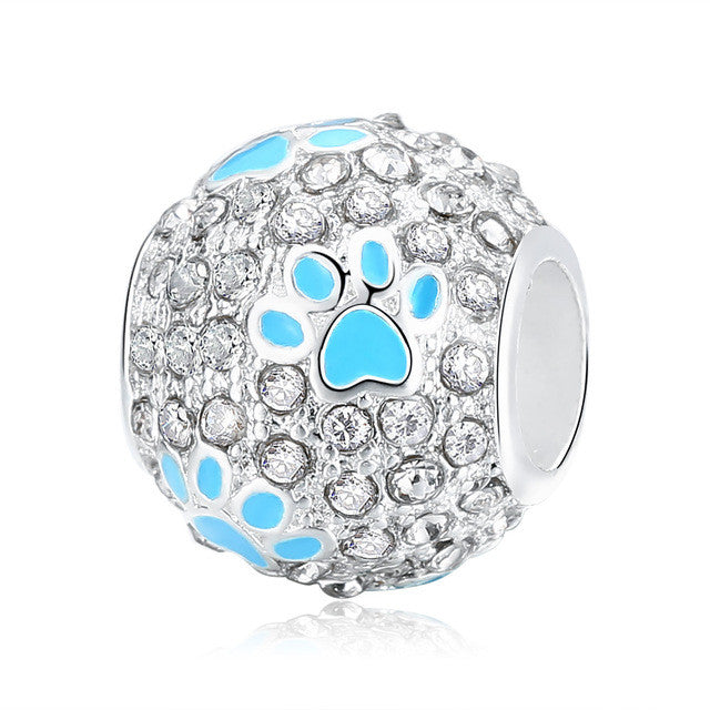Crystal Footprint Paw Ball Charm - Pandora Compatible 🐾