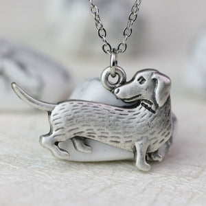 Petrified Antique Silver Dachshund Necklace and Charm 🐾