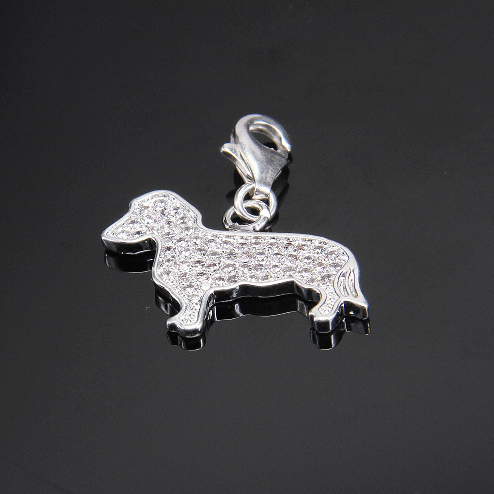 Fabulous Silver Zirconia-Pave Dachshund Charms 🐾